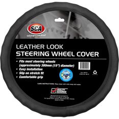 SCA Steering Wheel Cover - Leather Look, Black, 380mm diameter, , scanz_hi-res