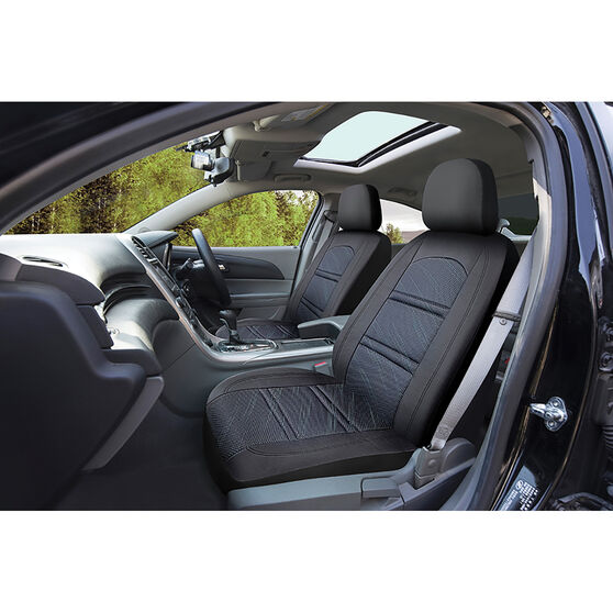 SCA Memory Foam & Jacquard Seat Covers - Black/Blue Adjustable Headrests Airbag Compatible, , scanz_hi-res