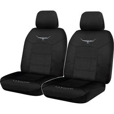 R.M.Williams Woven Seat Covers - Black, Adjustable Headrests, Size 30, Front Pair, Airbag Compatible, , scanz_hi-res