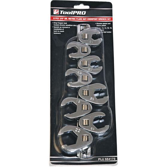ToolPRO Socket Set - Crows Foot, Flare Nut, 11 Piece, Metric, , scanz_hi-res
