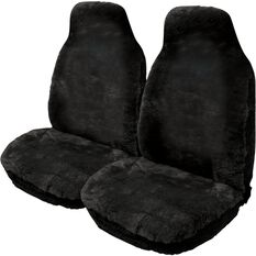Gold Cloud Sheepskin Seat Covers - Slate, Built-in Headrests, Size 60, Front Pair, Airbag Compatible Black, Black, scanz_hi-res
