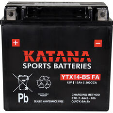 Katana Powersports Small Engine Battery YTX14-BS FA, , scanz_hi-res