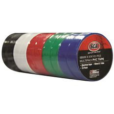 SCA PVC Electrical Tape - Assorted Colour, 18mm x 10m, 10 Pack, , scanz_hi-res