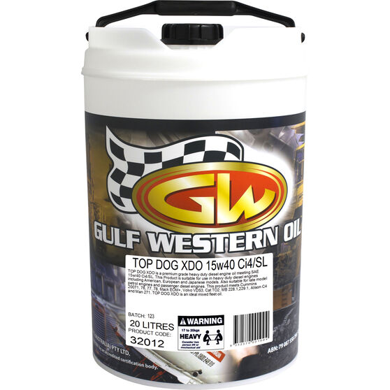 Gulf Western Top Dog XDO Diesel Engine Oil 15W-40 20 Litre, , scanz_hi-res