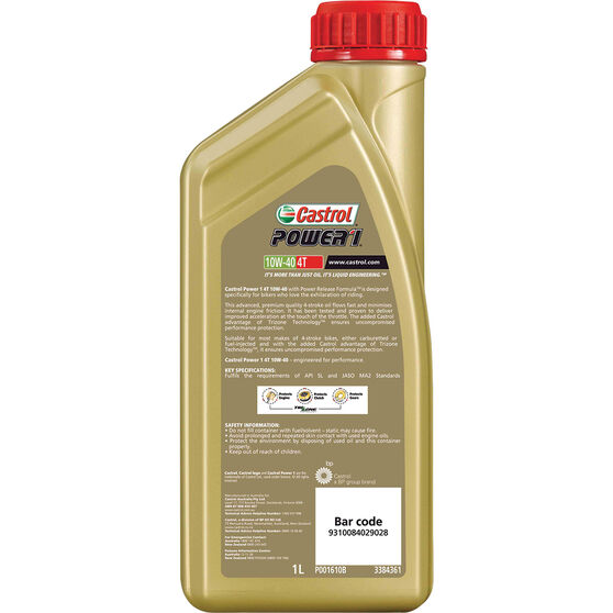 Castrol POWER1 4T Motorcycle Oil 10W-40 1 Litre, , scanz_hi-res