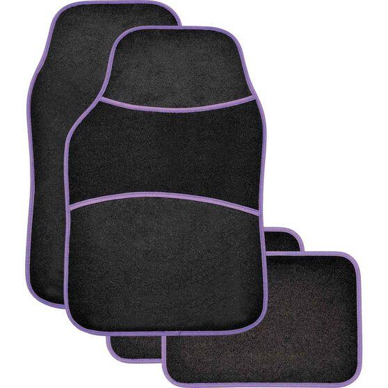Sports Floor Mats - Carpet, Black / Purple, Set of 4, , scanz_hi-res