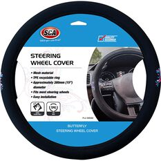 SCA Steering Wheel Cover - Butterfly Mesh, Pink/Blue 380mm diameter, , scanz_hi-res