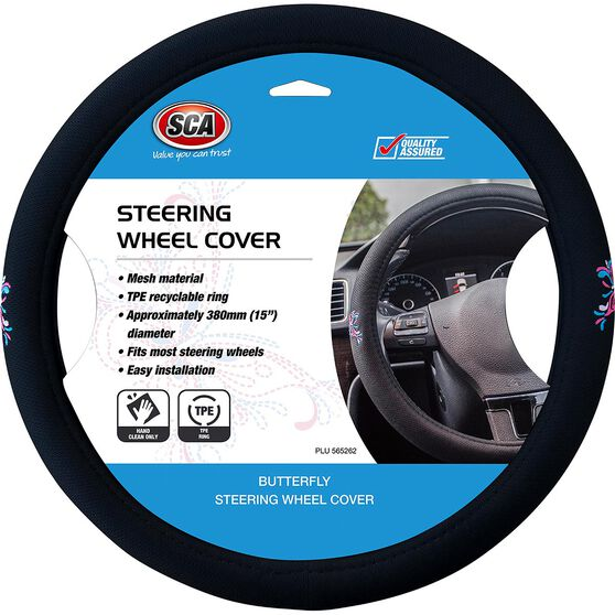 Butterfly Steering Wheel Cover - Mesh, Pink / Blue, 380mm diameter, , scanz_hi-res
