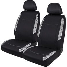 SCA Snake Skin Print Seat Cover Pack - Black Adjustable Headrests Size 30 Front Pair Airbag Compatible Steering Wheel, , scanz_hi-res