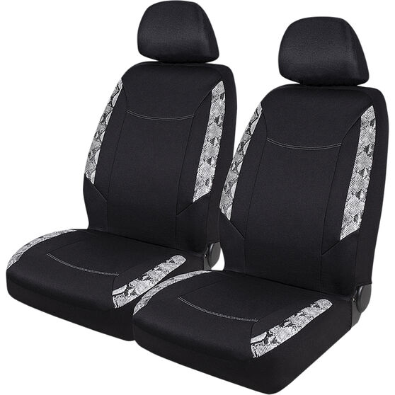 SCA Snake Skin Print Seat Cover Pack - Black, Adjustable Headrests, Size 30 Front Pair Airbag Compatible, Steering Wheel, , scanz_hi-res