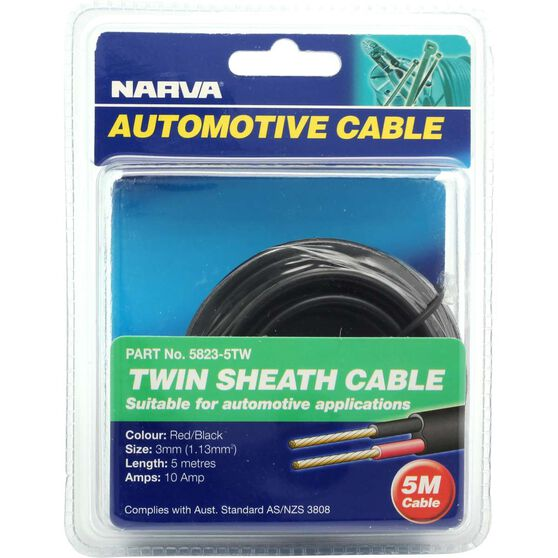 Narva Automotive Cable - Twin Sheath, 5 Metres, 10 AMP, 3mm, , scanz_hi-res