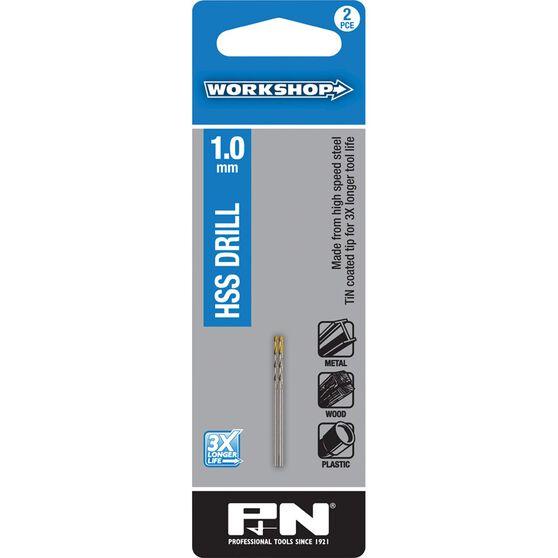 Workshop Drill Bit HSS TiN Tipped 1.0mm 2 pack, , scanz_hi-res