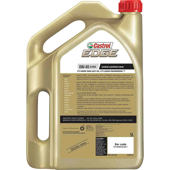 Castrol EDGE Engine Oil 0W-40 5 Litre, , scanz_hi-res