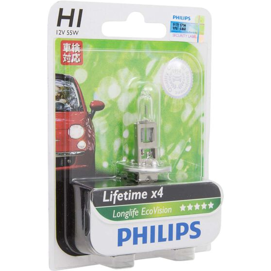 Philips LongLife EcoVision Headlight Globe  - 12V, H1, 55W, , scanz_hi-res