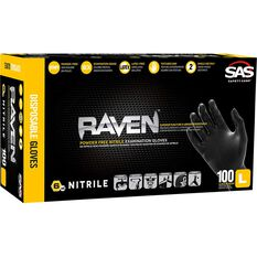 SAS Raven Nitrile Gloves - Black, Large, 100 Pack, , scanz_hi-res
