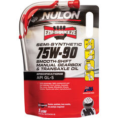 Nulon EZY-SQUEEZE Smooth Shift Manual Gearbox & Transaxle Oil 75W-90 1 Litre, , scanz_hi-res