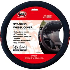 SCA Dragon Steering Wheel Cover - Twill Polyester, Black / Red, 380mm diameter, , scanz_hi-res