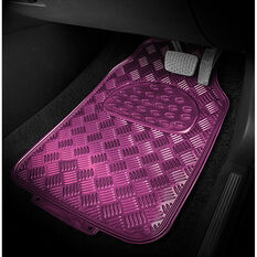 SCA Checkerplate Car Floor Mats PVC Pink Set of 4, , scanz_hi-res