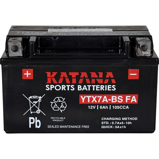 Powersports Battery - YTX7A-BS MF, , scanz_hi-res