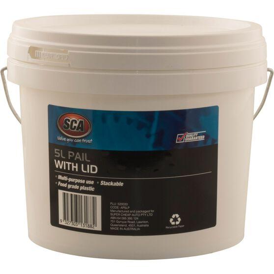 SCA Pail Bucket w /  Lid - White, 5 Litre, , scanz_hi-res