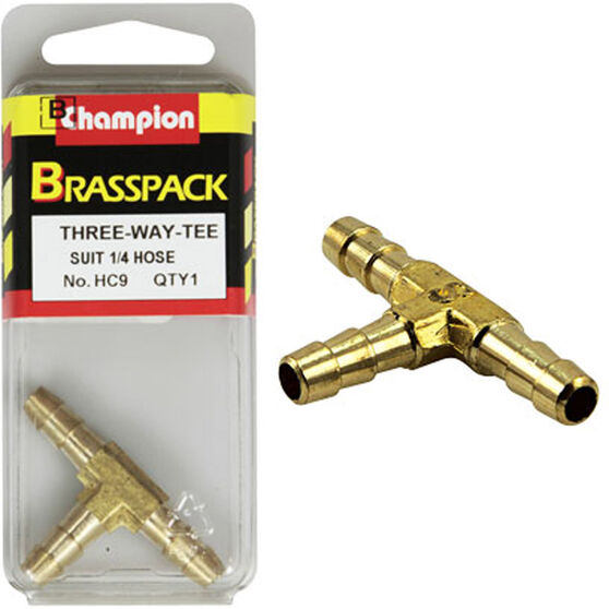 Champion T Pieces - 1 / 4inch, Brass, , scanz_hi-res