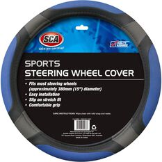 Steering Wheel Cover - Sports, Blue, 380mm diameter, , scanz_hi-res