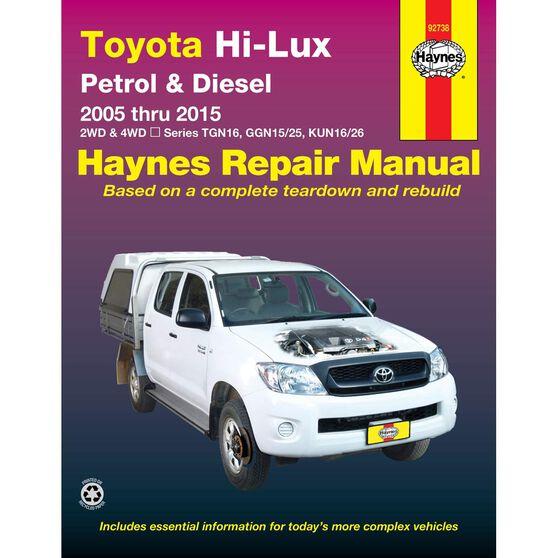 Haynes Car Manual For Toyota Hilux 2005-2015 - 92738, , scanz_hi-res