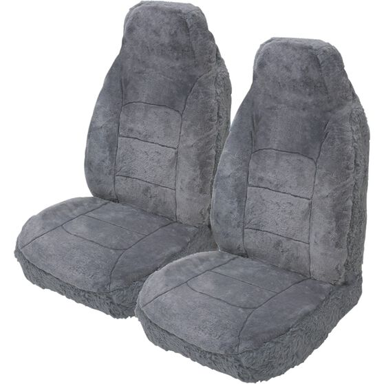 Silver Cloud Sheepskin Seat Covers - Built-in Headrests, Size 60, Front Pair, Airbag Compatible Grey, Grey, scanz_hi-res