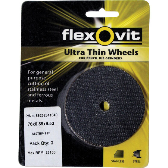 Flexovit Cut Off Wheel 76mm x 0.89mm x 9.53mm 3 Pack, , scanz_hi-res