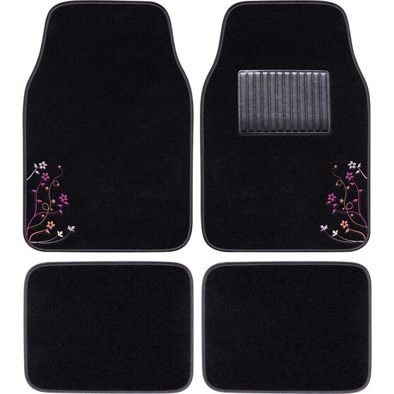 SCA Blossom Floor Mats - Carpet, Black / Purple / Orange, Set of 4, , scanz_hi-res