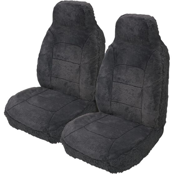 Silver Cloud Sheepskin Seat Covers - Built-in Headrests, Size 60, Front Pair,  Airbag Compatible Slate, Slate, scanz_hi-res