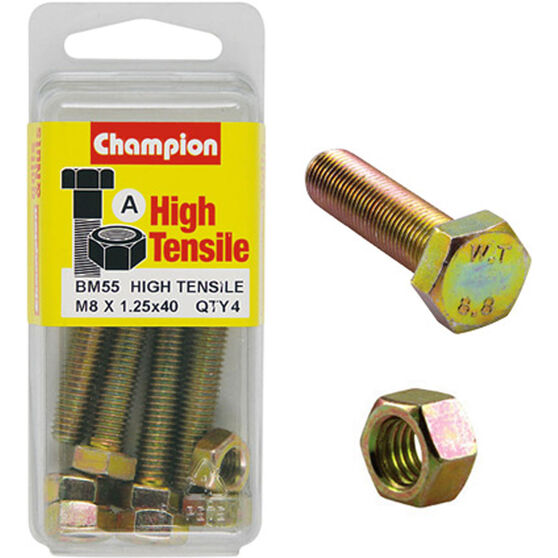 Champion High Tensile Bolts and Nuts - M8 X 40, , scanz_hi-res