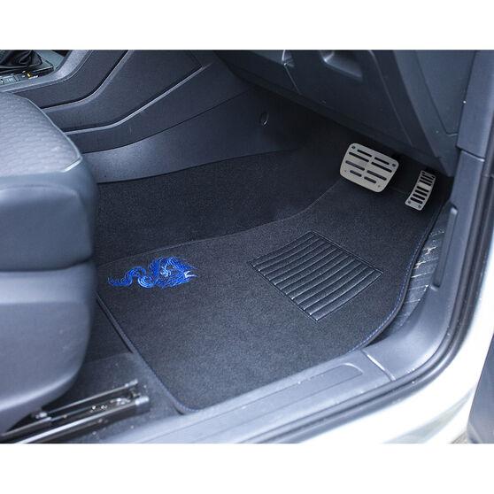 SCA Dragon Floor Mats - Carpet, Black / Blue, Set of 4, , scanz_hi-res