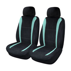Sports Velour and Mesh Seat Covers - Aqua/Black, Adjustable Headrests, , scanz_hi-res