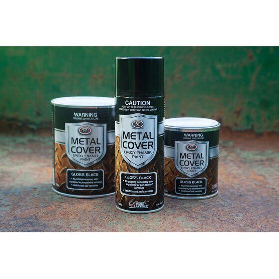 SCA Metal Cover Enamel Rust Paint Gloss Black 1 Litre, , scanz_hi-res