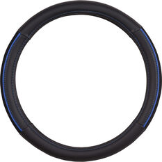 SCA Steering Wheel Cover - PU and Mesh, Black/Blue, 380mm diameter, , scanz_hi-res