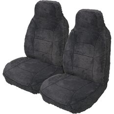 Silver Cloud Sheepskin Seat Covers - Black, Built-in Headrests, Size 60, Front Pair, Airbag Compatible, Slate, scanz_hi-res