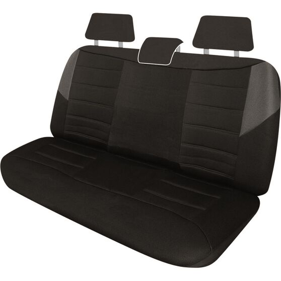 Carbon Mesh Seat Covers - Black and Grey, Adjustable Headrests, Size 06H, Rear Seat, , scanz_hi-res