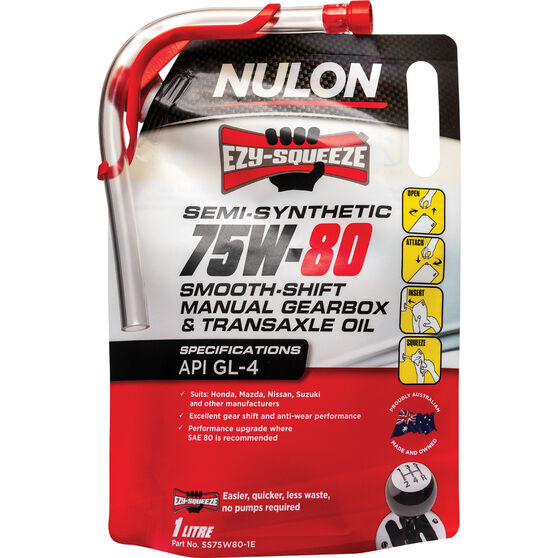 NULON EZY-SQUEEZE Smooth Shift Manual Gearbox & Transaxle Oil - 75W-80, 1 Litre, , scanz_hi-res