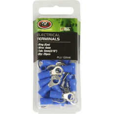 SCA Electrical Terminals - Ring (Eye), Blue, 5.0mm, 25 Pack, , scanz_hi-res