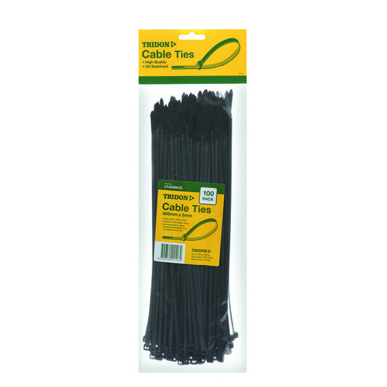 Tridon Cable Ties - 300mm x 5mm, 100 Pack, Black, , scanz_hi-res