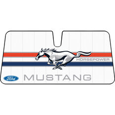 Ford Mustang Horsepower Sunshade - White, Accordion, Front, , scanz_hi-res