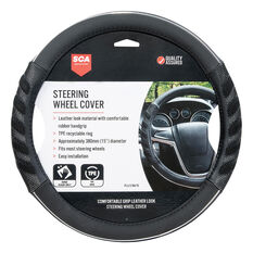 SCA Steering Wheel Cover - Leather Look & Rubber, Black and Grey, 380mm diameter, , scanz_hi-res