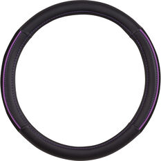 SCA Steering Wheel Cover - PU and Mesh, Black / Purple, 380mm diameter, , scanz_hi-res