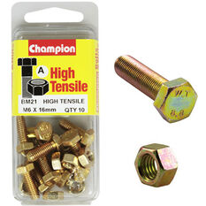 Champion High Tensile Bolts and Nuts - M6 X 16, , scanz_hi-res