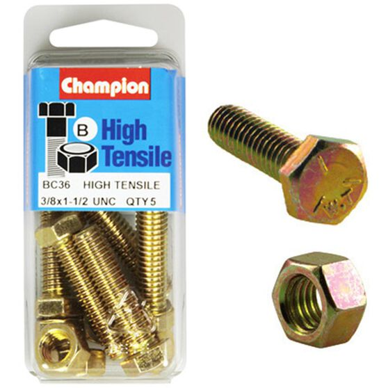 Champion High Tensile Bolts and Nuts - UNC 1-1 / 2inch X 3 / 8inch, , scanz_hi-res