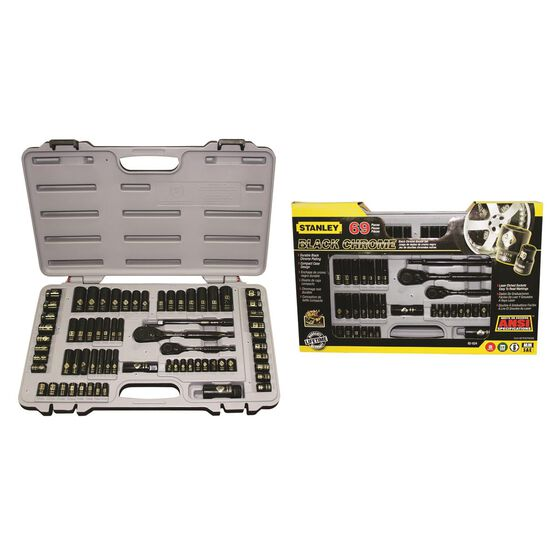 Stanley Socket Set - 1 / 4 inch and 3 / 8 inch Drive, Metric / Imperial, 69 Piece, , scanz_hi-res