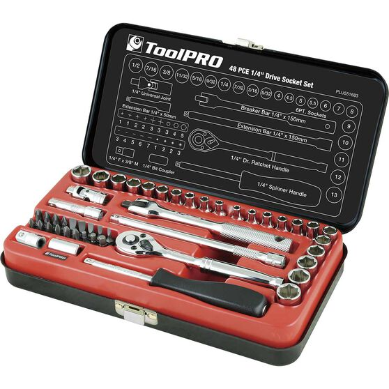 ToolPRO Socket Set - 1 / 4 inch Drive, Metric / Imperial, 48 Piece, , scanz_hi-res