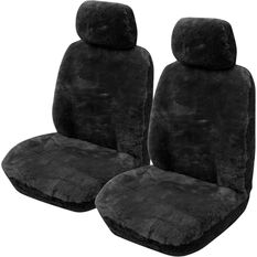Gold Cloud Sheepskin Seat Covers - Bone Adjustable Headrests Size 30 Front Pair Airbag Compatible, Black, scanz_hi-res