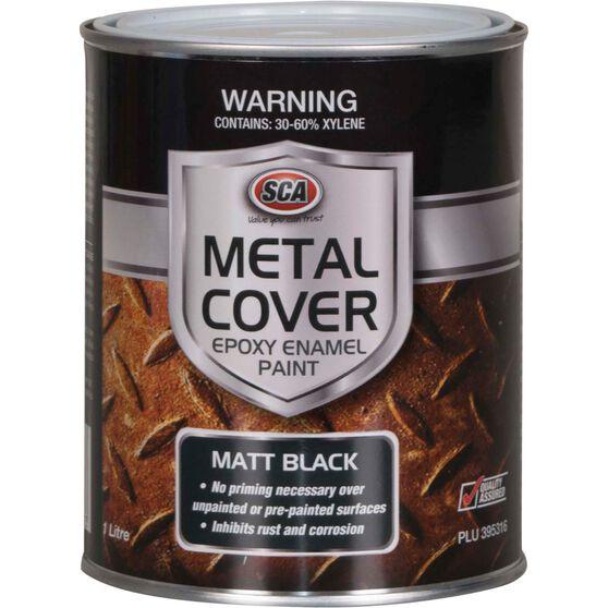 SCA Metal Cover Enamel Rust Paint Matt Black 1 Litre, , scanz_hi-res